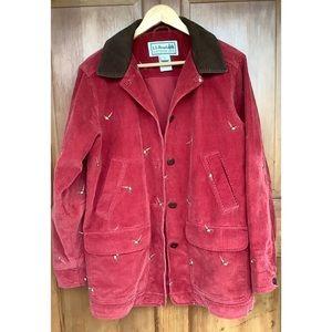 L.L. Bean Corduroy Pheasants Bird Coat Jacket M